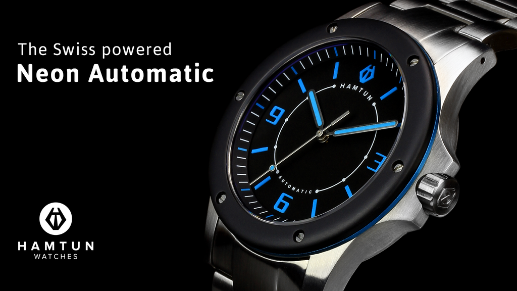 Neon Automatic: stunning Swiss powered watches from Hamtun project video thumbnail