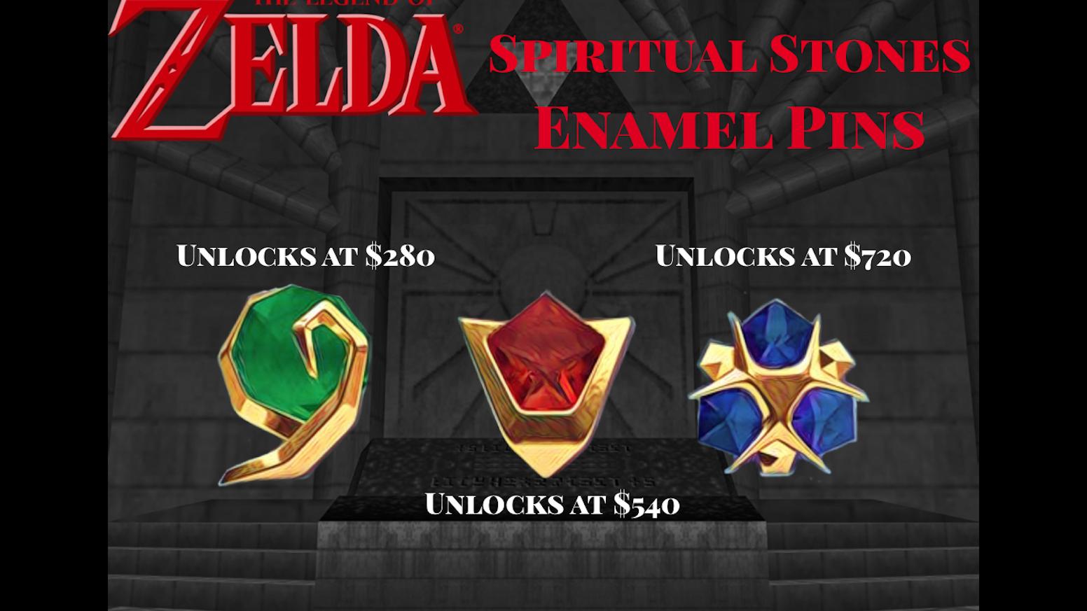 Zelda Spiritual Stones Enamel Pins by Dan the Biology Man