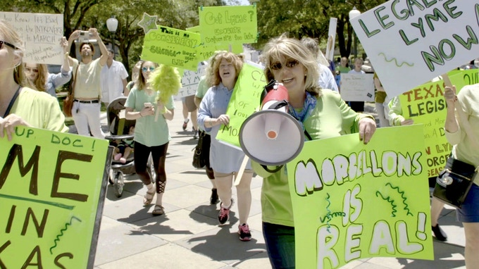 Cindy Casey at a Morgellons rally in Austin, TX