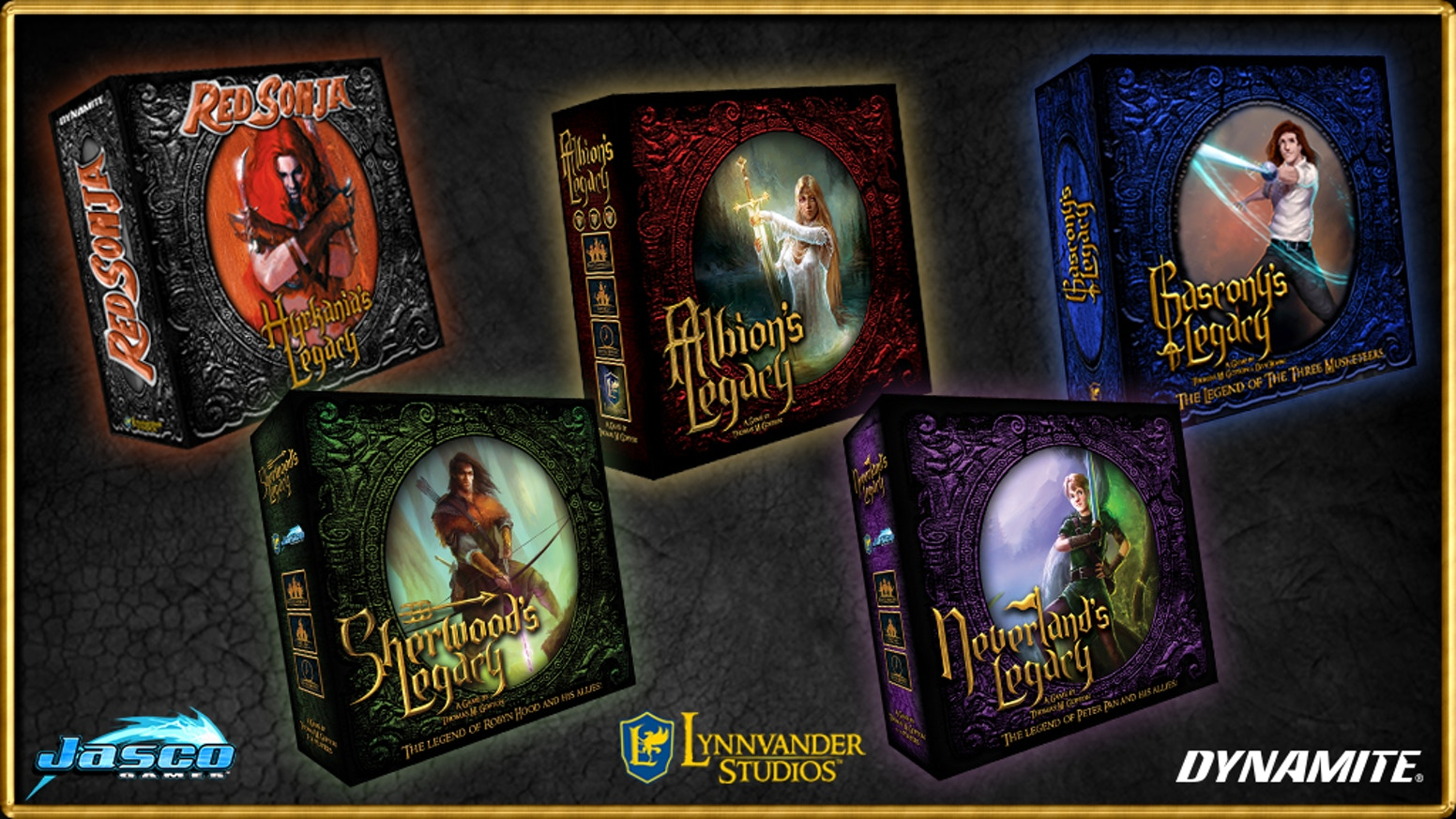 A re-launch of the entire Legacy Line of board games. Albion's, Sherwood's, Neverland's, Gascony's and Hyrkania's Legacy content.