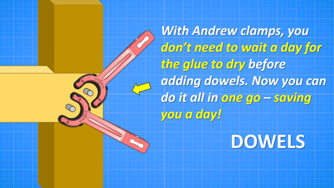 Rather than waiting for glue to dry before adding dowels, the Andrew Clamp allows the user to save valuable time and clamp and add dowels simultaneously!