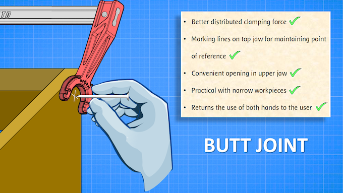 The Andrew Clamp's most immediate application is with butt joints - which it achieves effortlessly!