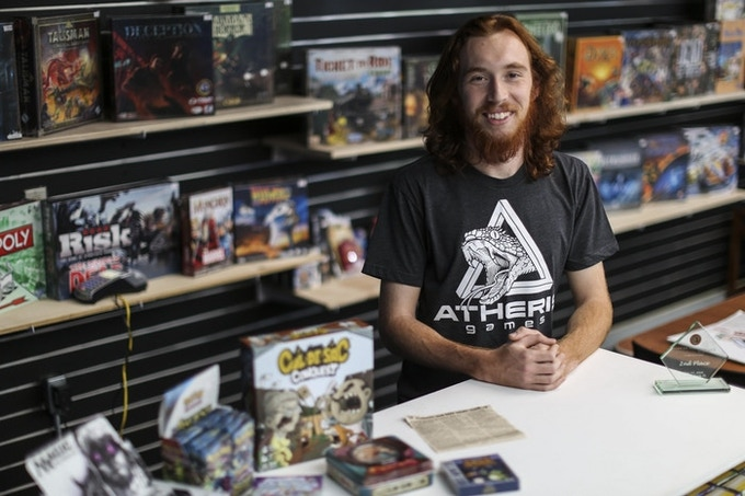 Andrew at Atheris Games (photo by Andrea Cornejo for the Gainesville Sun)