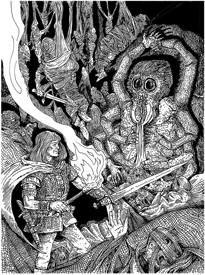 Russ Nicholson's depiction of the adventurers discovering the shrine of the loathsome god, Morraith.