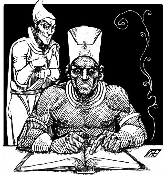 Matthew Ray's depiction of two of the Tower's nefarious sorcerers consulting their eldritch tomes of blasphemous lore.