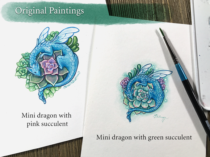 Dragon with pink succulent/Dragon with green succulent