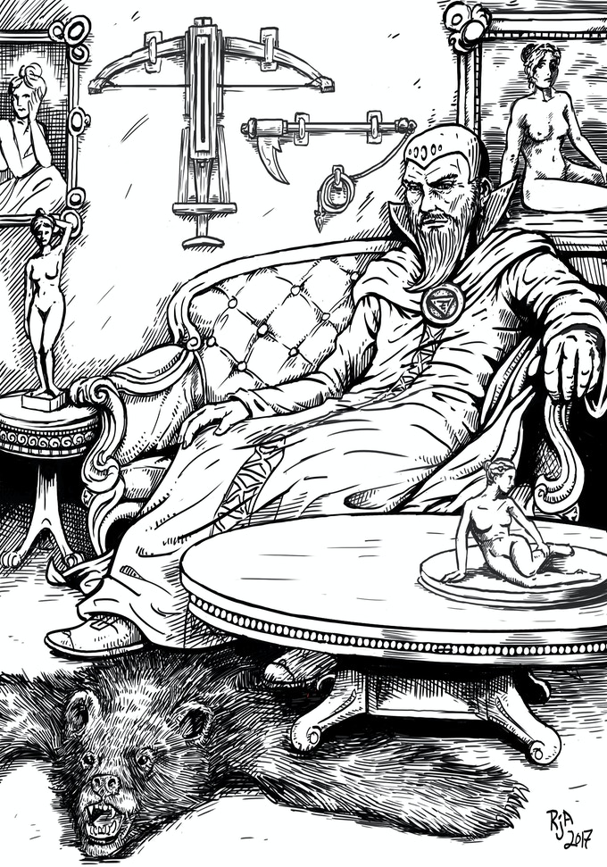 A sorcerer lounges in his opulently furnished chambers. Art by Ryan Jack Allred.