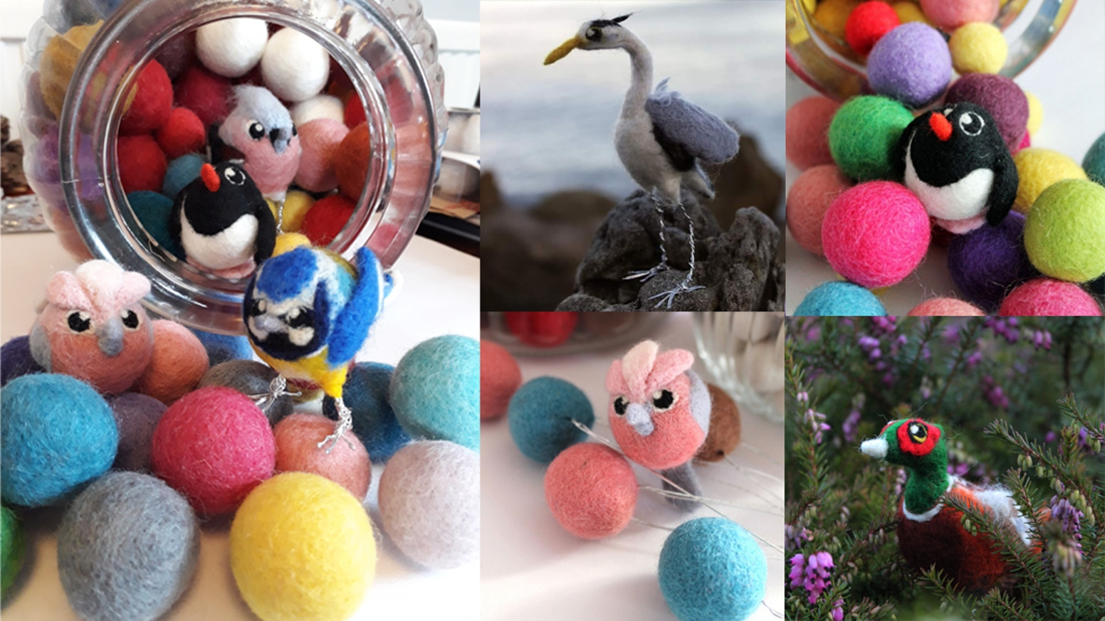 100 needle felted birds, each one crafted around a felt bead, each one unique.