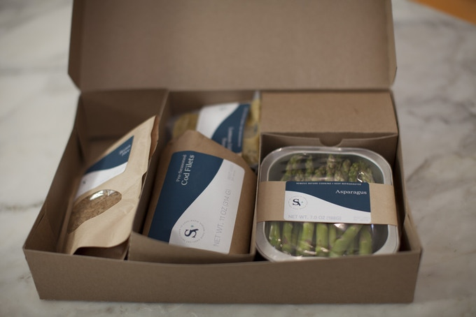 Suvie Smart Meals include a protein, vegetable, starch, sauce, and garnishes.