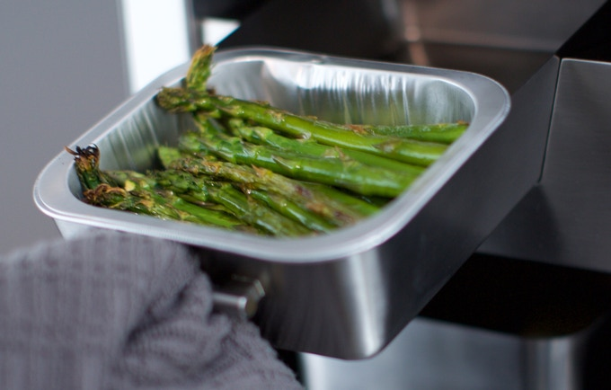 Asparagus cooked in the Suvie appliance.