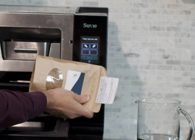 Tap the Suvie smart packaging to the Suvie appliance tap zone, and it automatically recognizes your meal item.