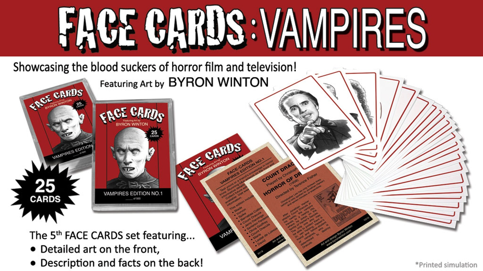 25 Trading Card Set. Artistic renditions of the blood suckers of horror film and television!