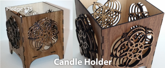 Made from mdf with walnut veneer, there are three layers on each side of this beautiful candle holder.