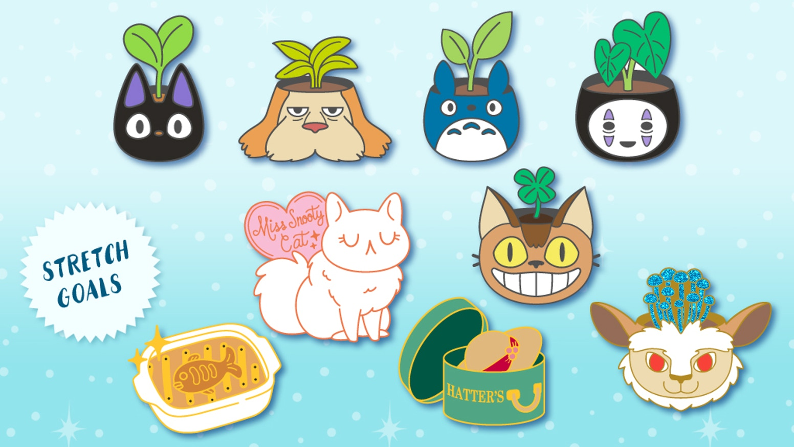 Hard enamel pins inspired by Studio Ghibli and houseplants