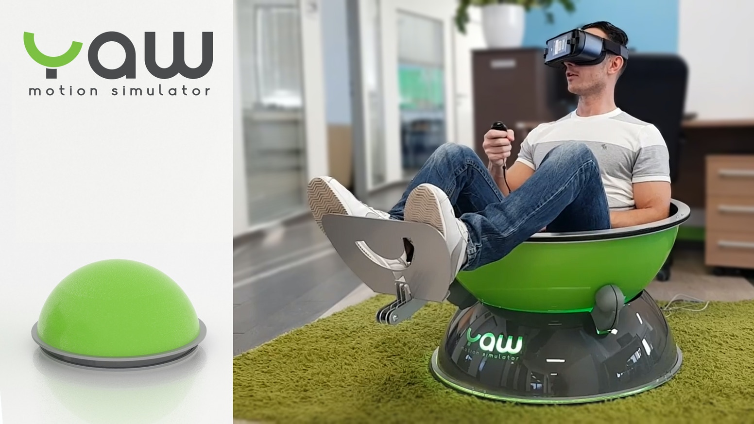 The most compact and affordable, virtual reality motion simulator. Small, lightweight, silent, with 3DoF and high dynamic range