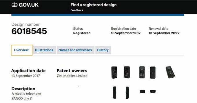 Patent details for the Zanco tiny t1 mobile phone