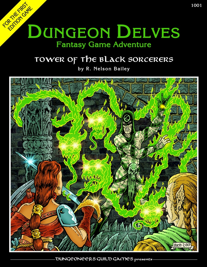 """""""Tower of the Black Sorcerers"""" front cover with art by Bradley K. McDevitt. The sorcerer, Basharn, defends his tower from invading adventurers."""