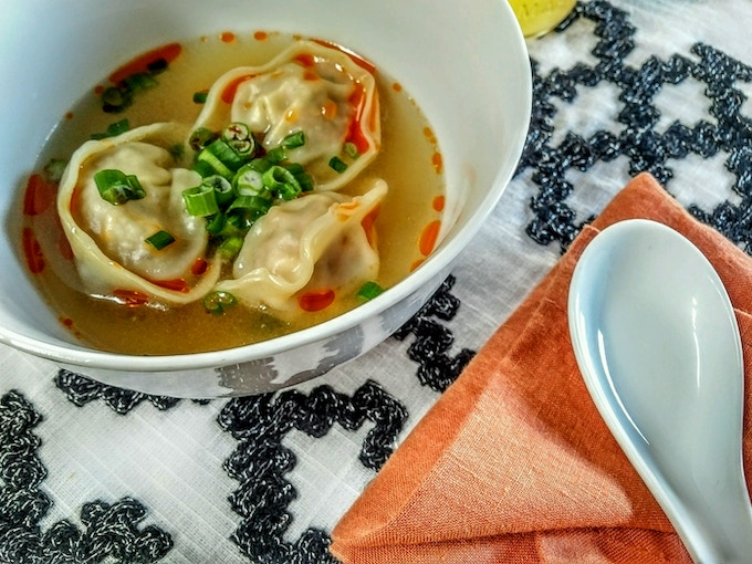 Pancit Molo [pork dumplings, ginger broth, scallions, chili oil]
