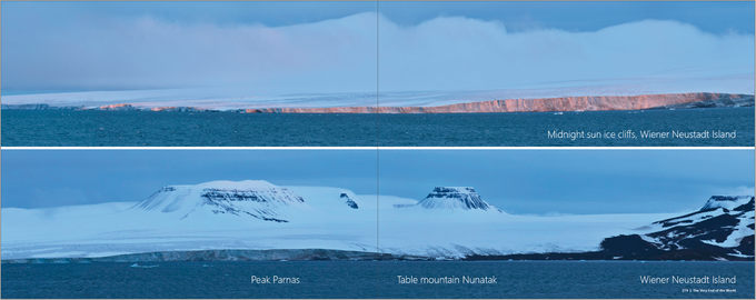 Large ice caps cover the islands of Franz Josef Land. Enjoy rare panormamic views from some of the remotest places on earth.