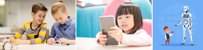 AI enters the lives of kids from an early age in the classroom, in technology, and will grow in influence as AI and robotics becomes widespread. dolgachov / Shao-Chun Wang / gmast3r / 123rf.com