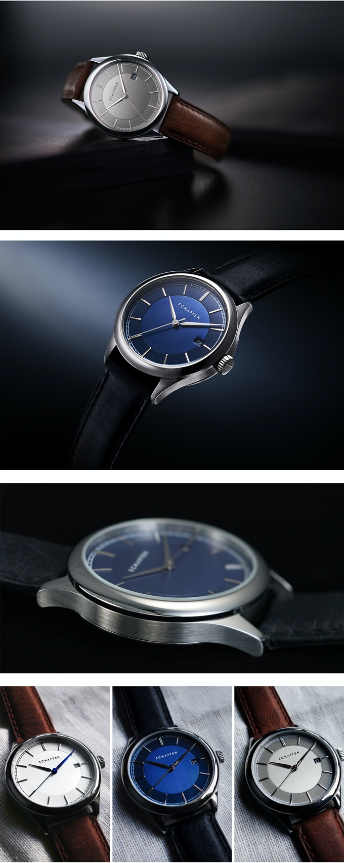 A65 Dress Watch with Silver, Blue & Grey Dials