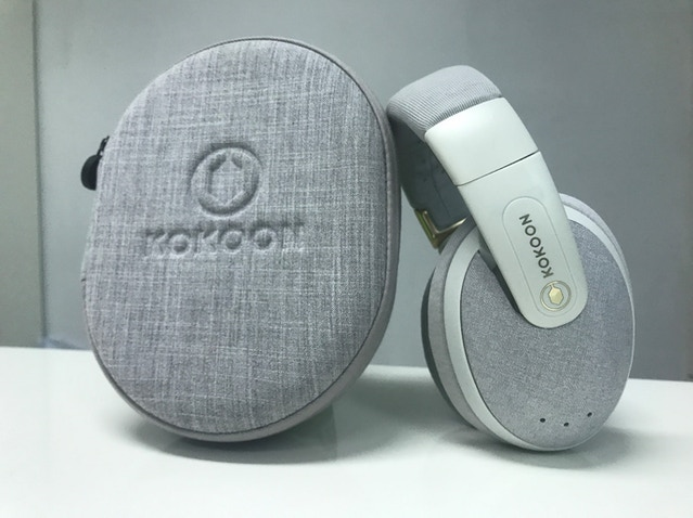The white headphone and case – note case still being tuned
