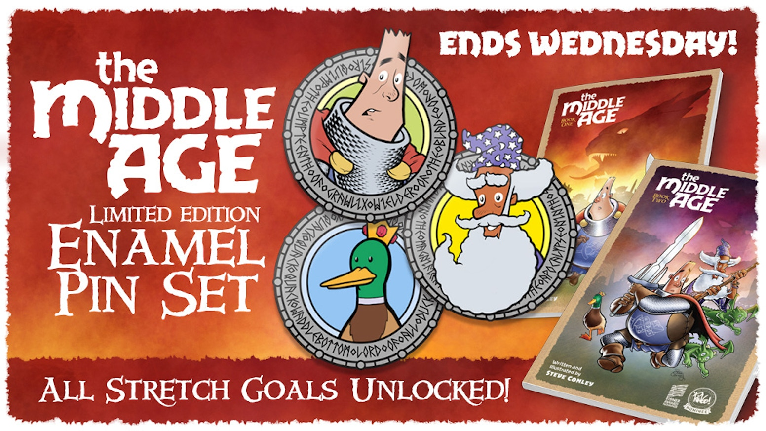 We're making three high-quality enamel pins based on characters from the acclaimed webcomic series, The Middle Age.