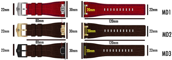 Zoid_MD_Leather straps and dimensions.