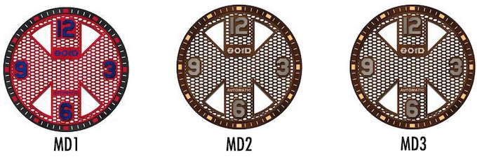 Close up on the dial. (From left to right: MD1, MD2, MD3)