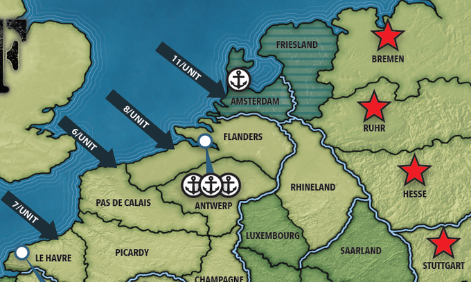 The key locations are shown with red stars - the Allied player must control two of these to win, and the Axis player must defend them.