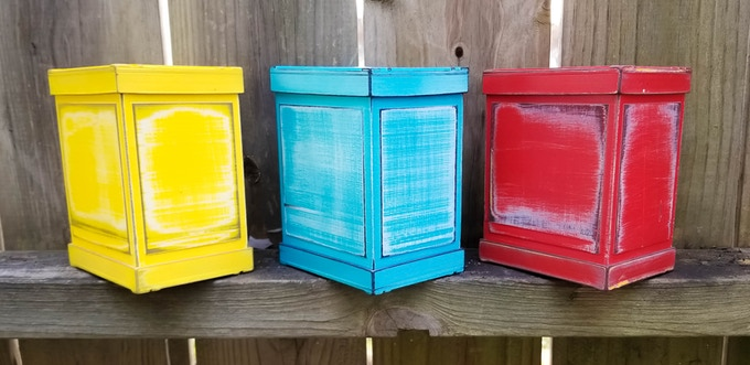 """Weathered series in """"Something Yellow"""", """"Worn Blue"""", and """"Really Red"""""""
