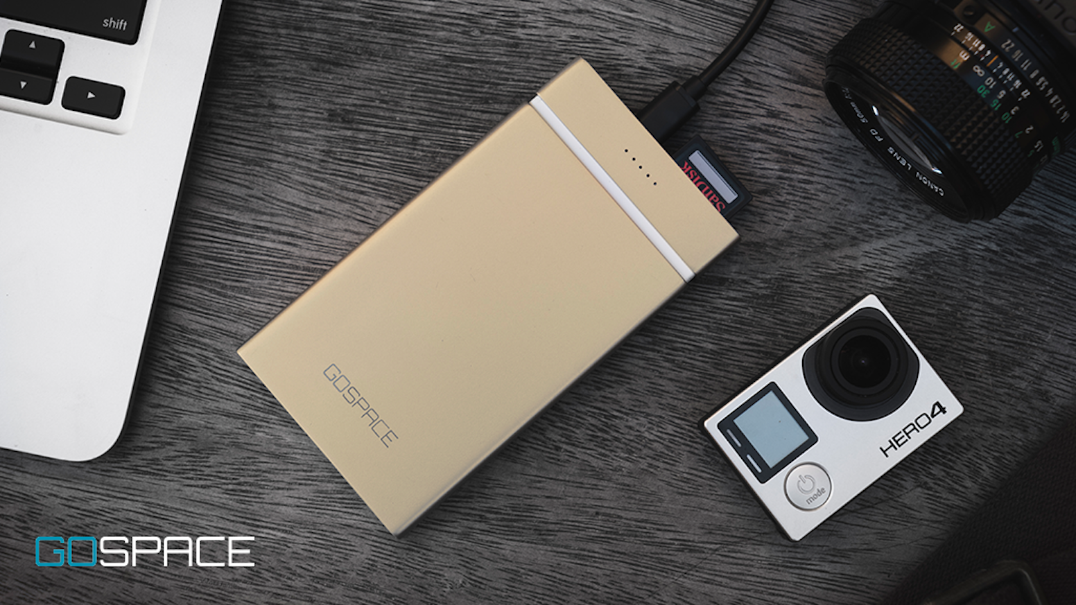 GOSPACE is a wireless external drive with Qi charging and 5G streaming capabilities.