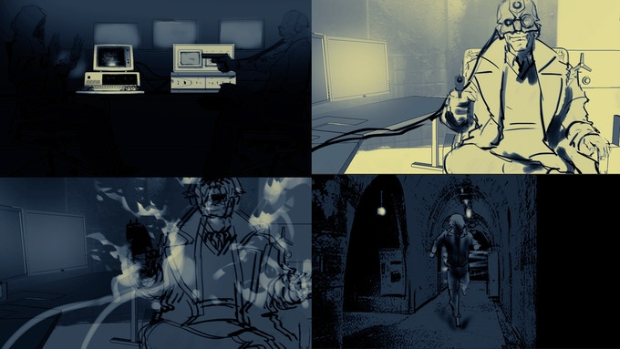 Edgar confronts Fiar after strapping into the ROAM device. Storyboards by Steven Yu (reward #8)