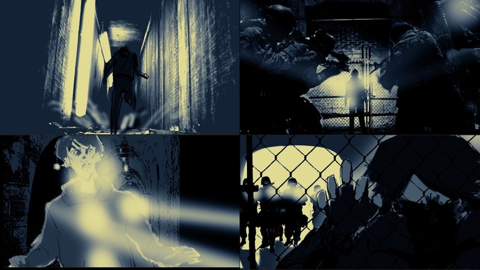 Fiar encounters ROAM Guards in a tunnel fight sequence. Storyboards by Steven Yu (reward #8)