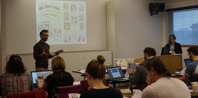 Teacher training session in Wales, which featured the first Ada comic book