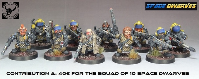 """The Space Dwarves squad contains 1 sergent, 1 heavy flamer, 1 grenade launcher, 1 """"Chuck Maurice"""",  2 troopers with opened visor, 2 troopers with closed visor, 2 mohican head troopers"""