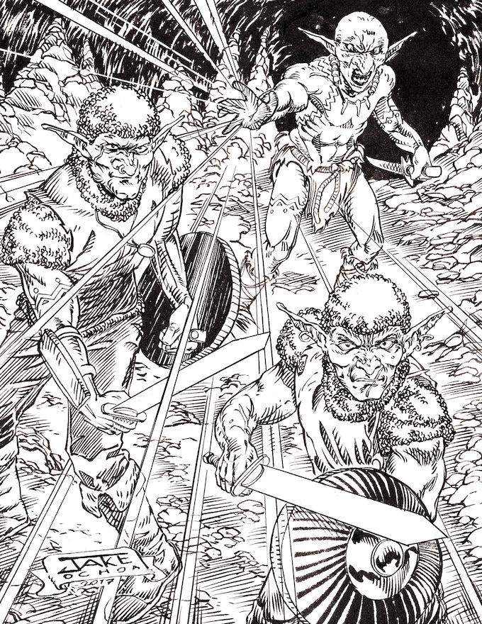 Hobgoblins and a goblin sorcerer by Jake Ochoa