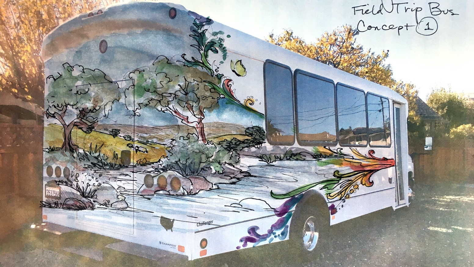 This bus will be painted with custom mural artwork by Morgan Mural Studios. The bus will be used to take economically disadvantaged youth on nature field trips.