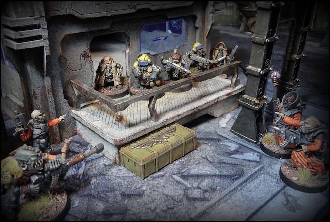 Skirmish between Space dwarves and mutants, painted by Jean-Baptiste Garidel