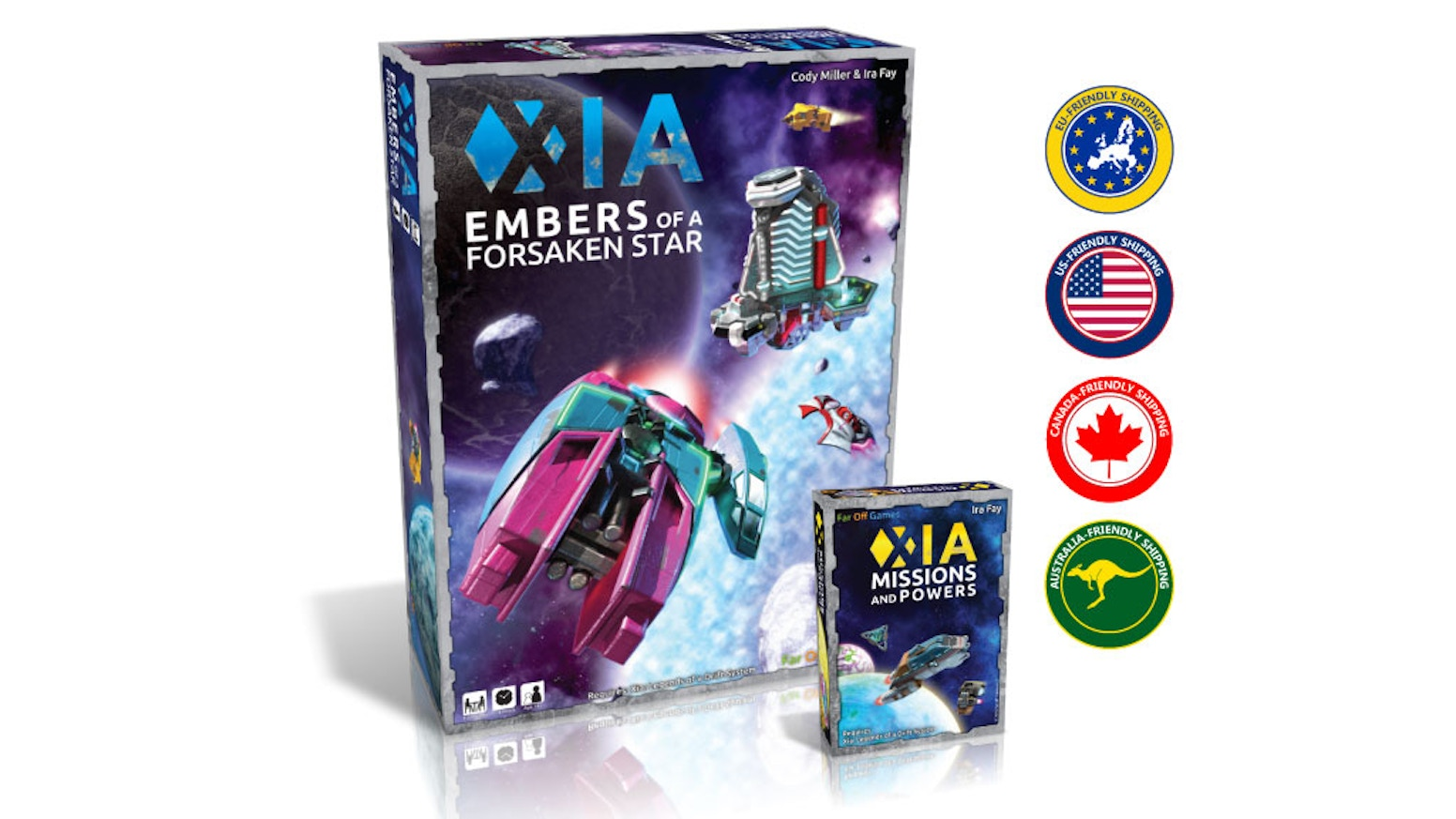 Expands the universe of Xia. Pre-painted miniatures! New Sectors! New Missions! New Powers! A 1-5 player sandbox-style space adventure!
