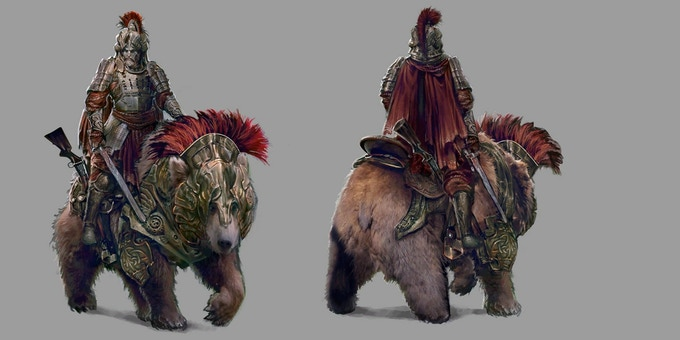 Original Concept art for the Bear Lord by Pablo Fernandez.