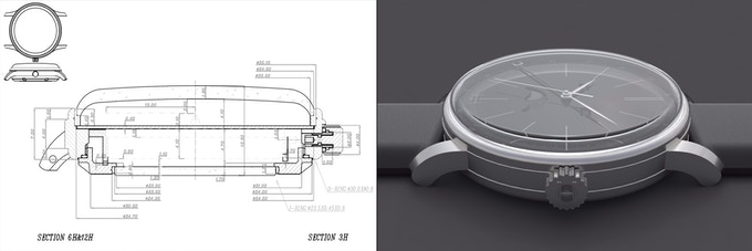Early technical drawing and render