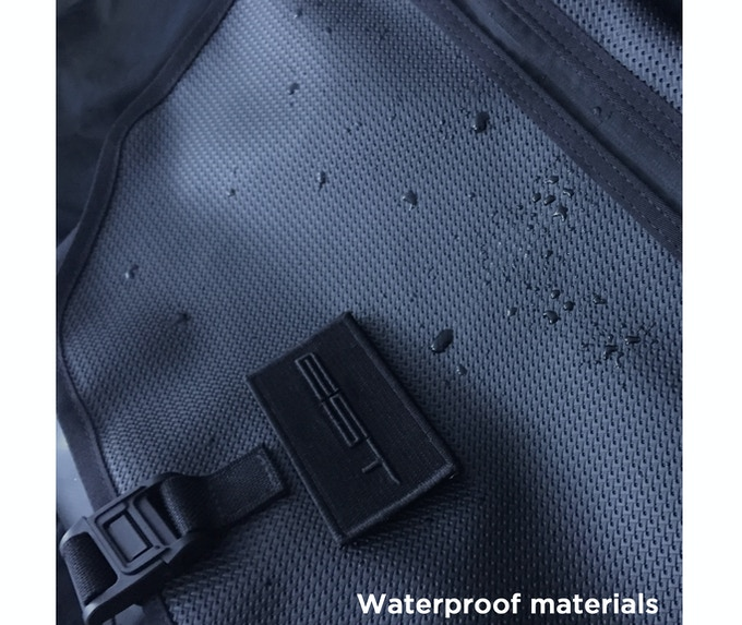 Water-resistant with a waterproof zipper. Flap, lining and bottom are made of waterproof sailcloth.
