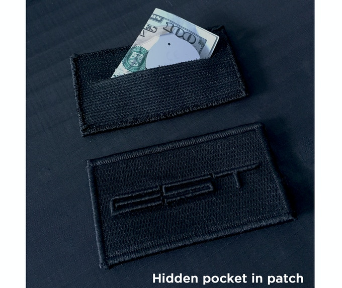 The logo patch itself is removable and has a hidden pocket built into it. Stash cash, a Trackr unit, lock picks, etc.