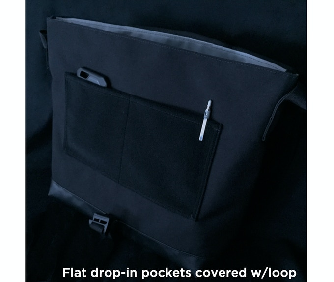 Double loop-covered flat drop-in pockets. Carry slim essentials in the pockets and attach the optional organizer panel or any hook-backed accessory or morale patches to the front.