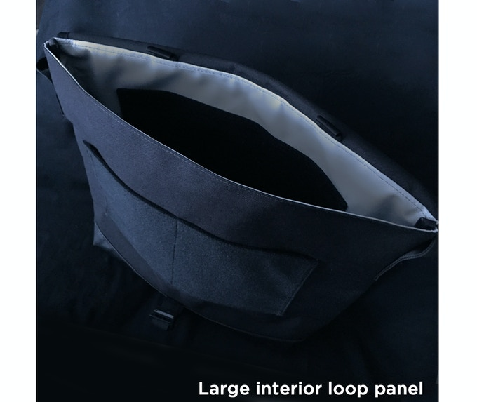Large internal loop panel provides more real estate to attach hook-backed accessories and patches. You can even stack accessories like our laptop sleeve and organizer panel and keep them connected to each other.