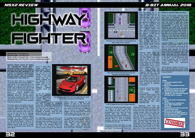 Highway Fighter for the MSX