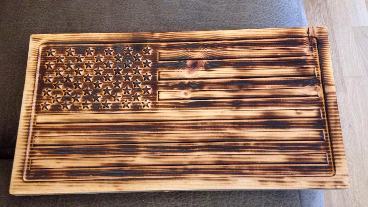 Usa Flag Carved Amp Burnt Wood By Emily Amp John Cummings