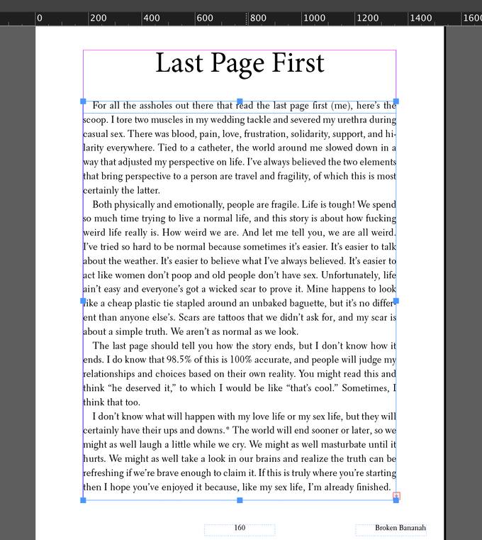 Last page being formatted in InDesign.