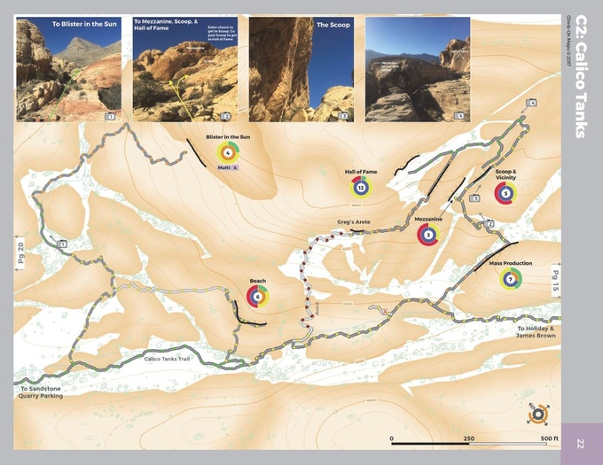Example: A single 1:2000 scale page from the Red Rock Canyon, NV Climber's Map (that map is 64 pages)